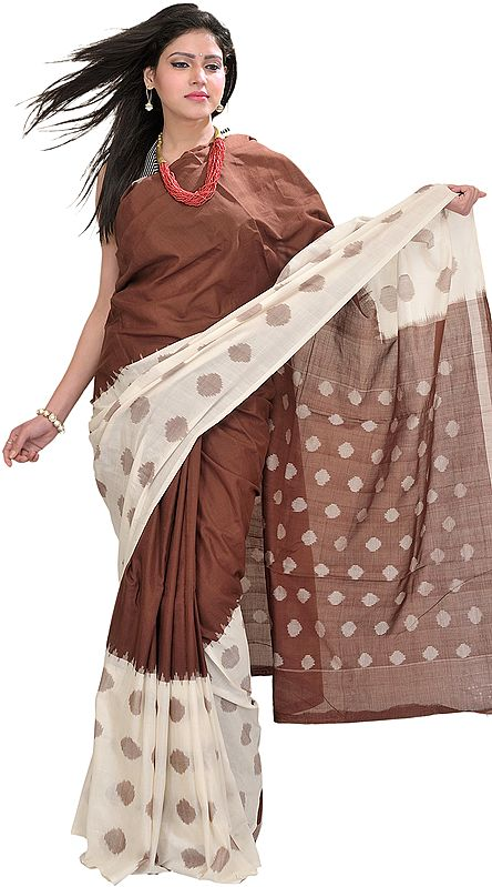 Brown and Ivory Ikat Sari from Pochampally with Woven Bootis