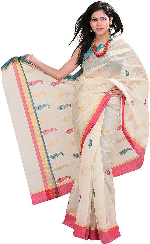 Ivory Handloom Chanderi Sari With All-over Woven Paisleys