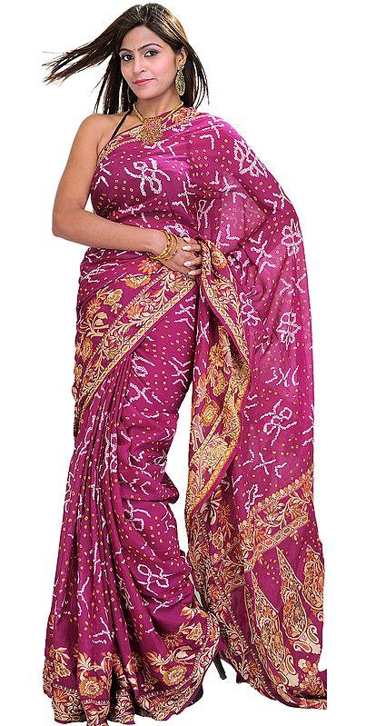 Wild-Aster Bandhani Tie-Dye Sari from Jodhpur with Floral Woven Border