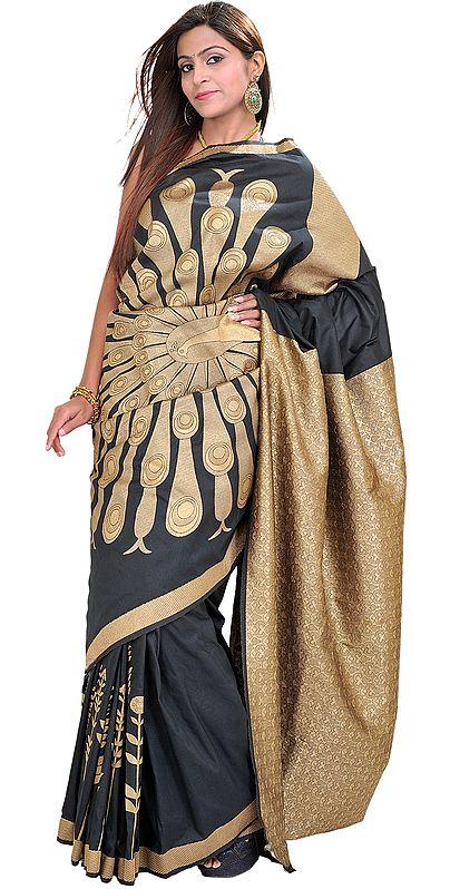 Phantom-Black Banarasi Sari with Woven Dancing Peacock in Golden Thread