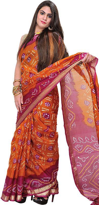 Burnt-Orange and Pink Bandhani Tie-Dye Sari from Gujarat with Brocade Border