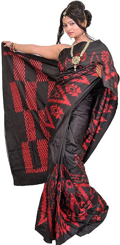 Jet-Black Handloom Sari from Pochampally with Single Ikat Weave