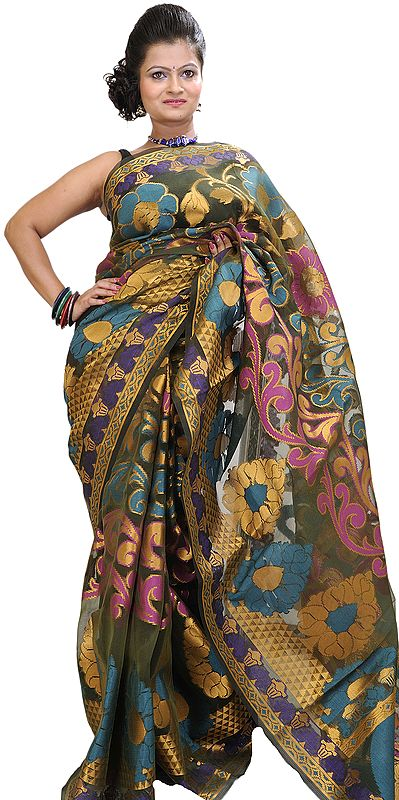 Burnt-Olive Banarasi Sari with Woven Flower and Golden Thread Weave