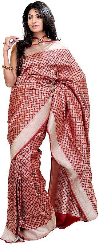 Garnet-Red Banarasi Sari with Woven Bootis All-Over and Silver Border
