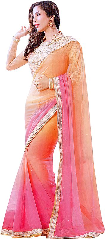 Peach and Pink Shaded Sari with Embroidered Patch Border