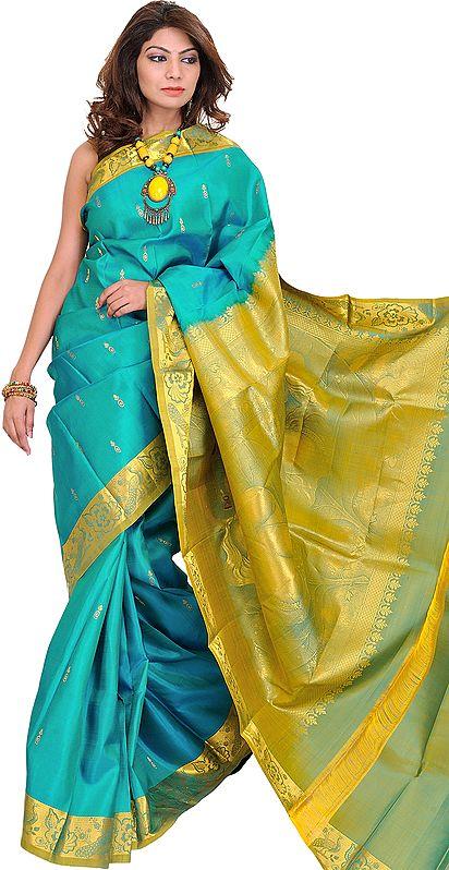Tile-Blue Kanjivaram Handloom Sari with Woven Little Krishna on Pallu