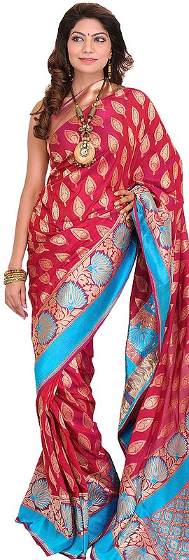 Sangria-Red Banarasi Jamawar Sari with Hand-woven Leaves and Brocaded Aanchal