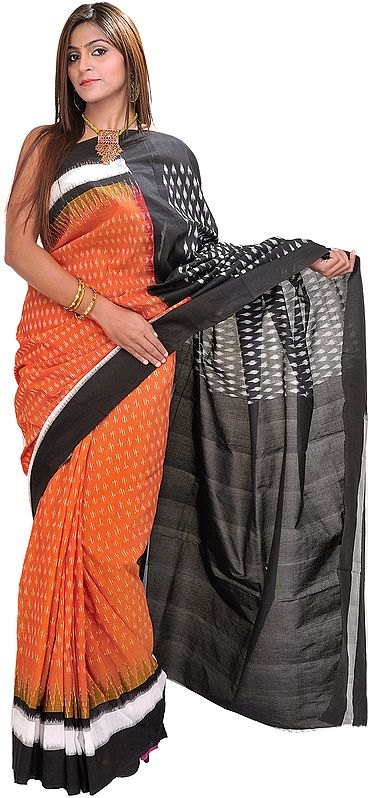 Adobe-Brown and Black Ikat Sari from Pochampally with Woven Bootis