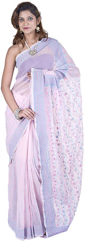 Pink-Dogwood Sari from Lucknow with Chikan Embroidery by Hand