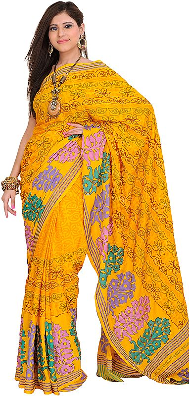 Yellow Sari with Printed Flowers and Kantha Embroidery