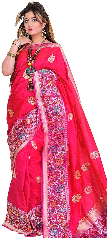 Raspberry-Sorbet Superfine Sari from Banaras with Wide Kadhwa Border