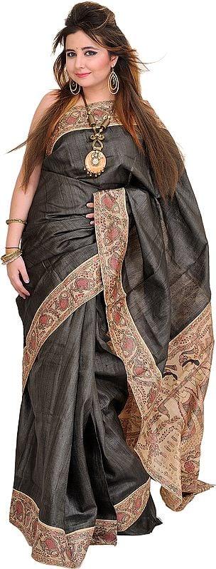 Dark-Shadow Sari from Bihar with Hand-Painted Madhubani Folk Motifs on Aanchal
