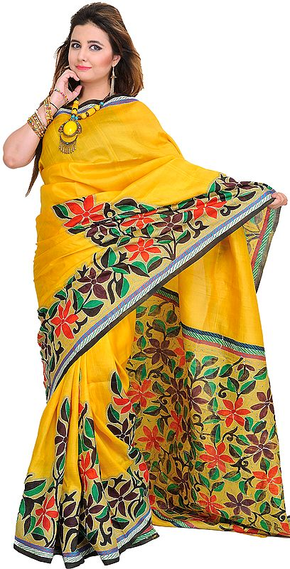 Mimosa-Yellow Sari from Kolkata with Hand-Painted Flowers and Kantha Embroidery by Hand