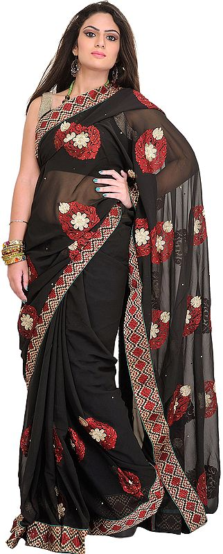 Jet-Black Floral Embroidered Wedding Sari with Crystals and Patch Border