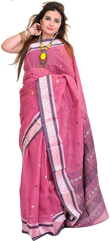 Red-Violet Baluchari Sari from Bengal with Woven Bootis and Folk Motifs