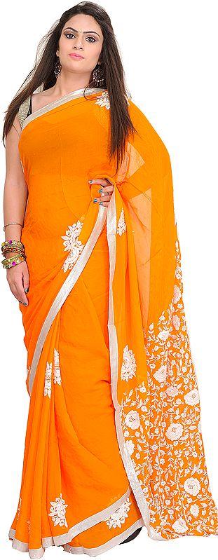 Flame-Orange Sari from Punjab with Phulkari Embroidered Flowers and Gota Border