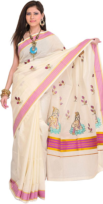 Ivory Kasavu Sari from Kerala with Embroidered Baby Krishna on Aanchal