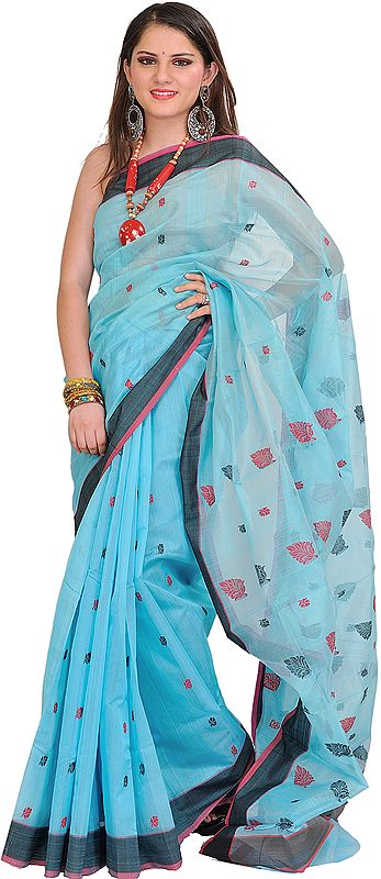 River-Blue Handloom Chanderi Sari with Woven Bootis