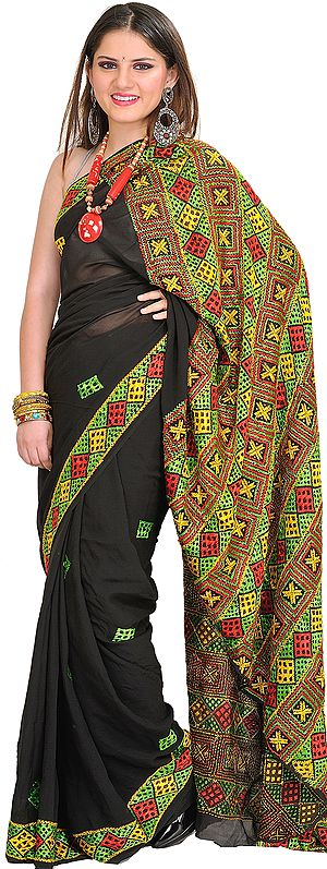 Jet-Black Sari from Punjab with Phulkari Hand-Embroidered Aanchal and Border