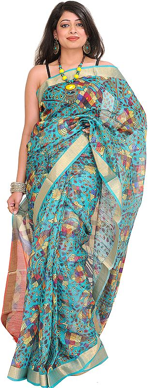 Blue-Curacao Digital-Printed Sari from Purvanchal with Woven Border