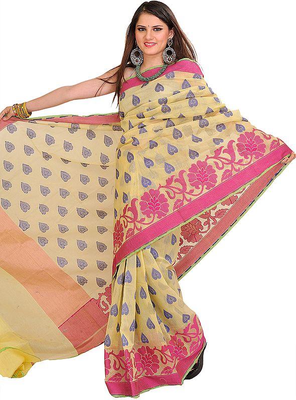 Mellow-Yellow Sari from Banaras with Woven Bootis All-Over
