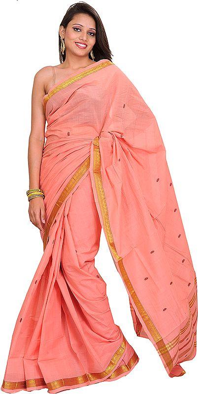 Peach-Bloosom South Cotton Sari with Woven Bootis and Zari Border
