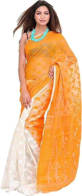 Orange and Ivory Jamdani Sari from Bengal with Woven Bootis