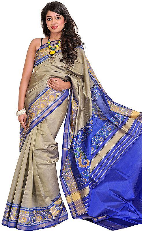 Gray and Blue Handloom Patan Patola Sari from Gujarat with Ikat Weave