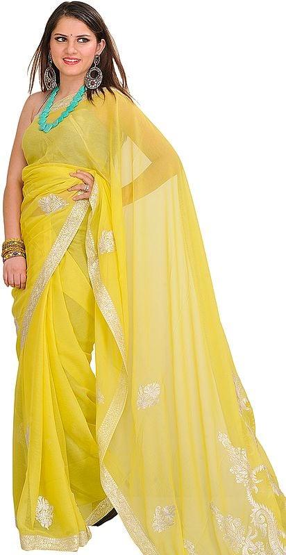 Canary-Yellow Wedding Sari with Zari Embroidered Paisleys and Border