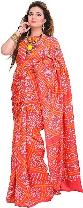 Calypso-Coral Bandhani Tie-Dye Sari from Gujarat