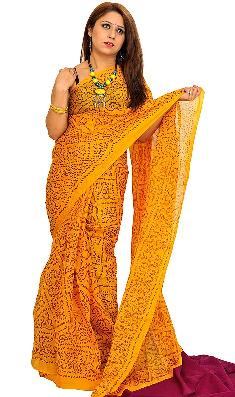 Freesia-Yellow Bandhani Tie-Dye Marwari Sari from Jodhpur
