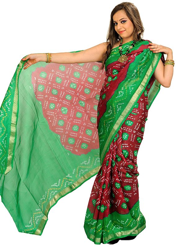 Biking-Red and Green Bandhani Tie-Dye Marwari Sari from Jodhpur