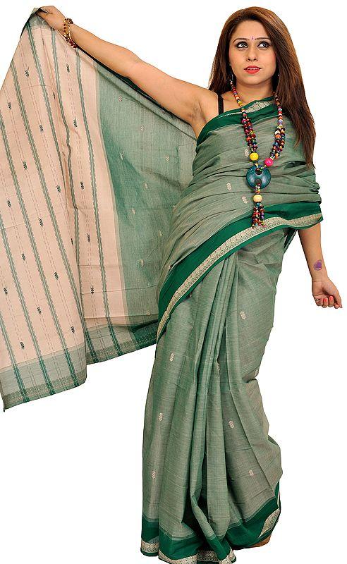 Venkateshwara Sari from Bangalore with Woven Bootis and Striped Aanchal