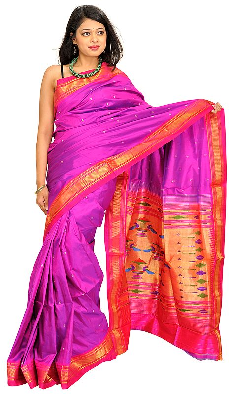 Purple-Orchid Paithani Sari with Hand-Woven Peacocks on Aanchal