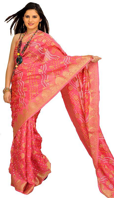 Shocking-Pink Bandhani Tie-Dye Sari from Jodhpur with Zari Woven Bootis All-Over