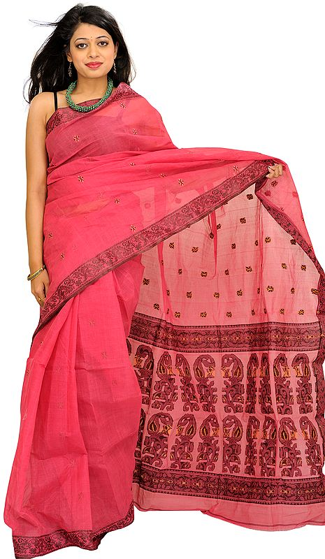 Pink-Flambe Tangail Sari from Bengal with Woven Bootis and Paisleys on Aanchal