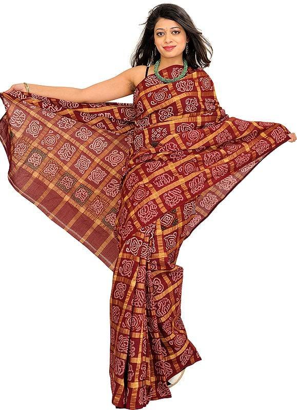 Bitter-Chocolate Bandhani Tie-Dye Gharchola Sari from Gujarat