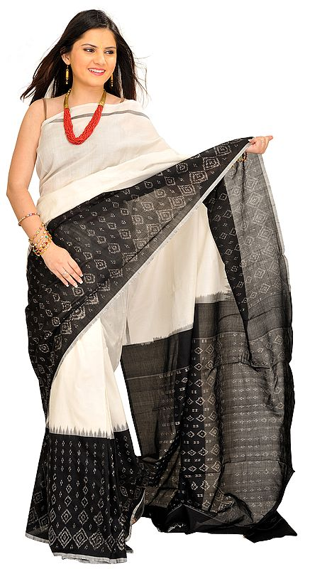 Ivory and Black Handloom Sari from Pochampally with Ikat Weave