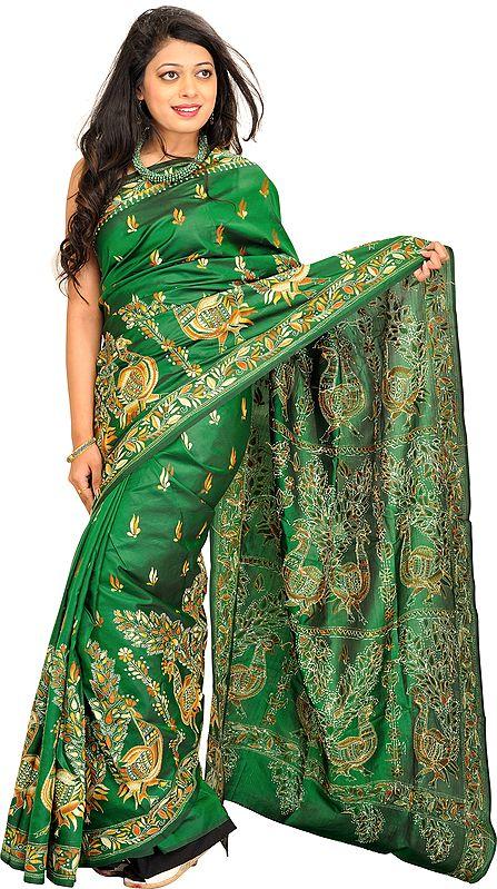 Verdant-Geen Sari from Kolkata with Kantha Hand-Embroidered Peacocks