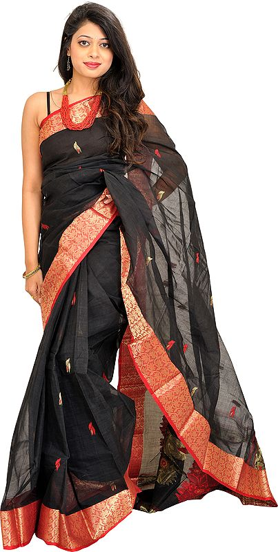 Jet-Black Sari from Bengal with Woven Border and Paisleys on Aanchal