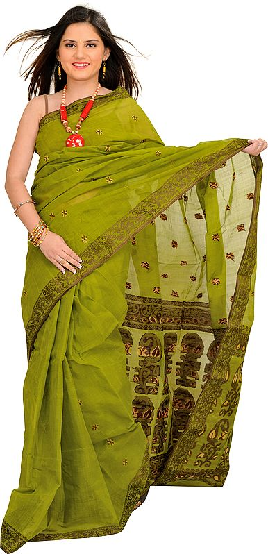 Spinach-Green Tangail Sari from Bengal with Woven Bootis and Paisleys on Aanchal
