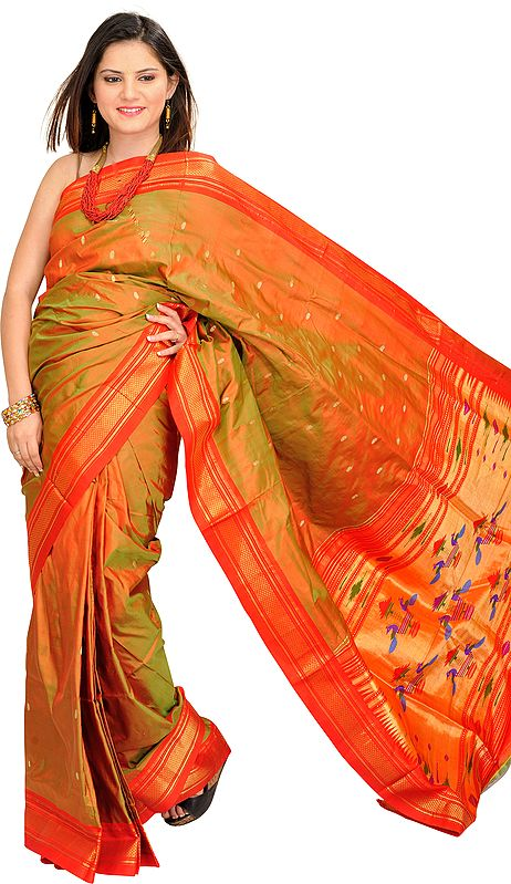 Bronze-Mist and Red Paithani Sari with Zari Bootis and Hand-Woven Peacocks on Aanchal