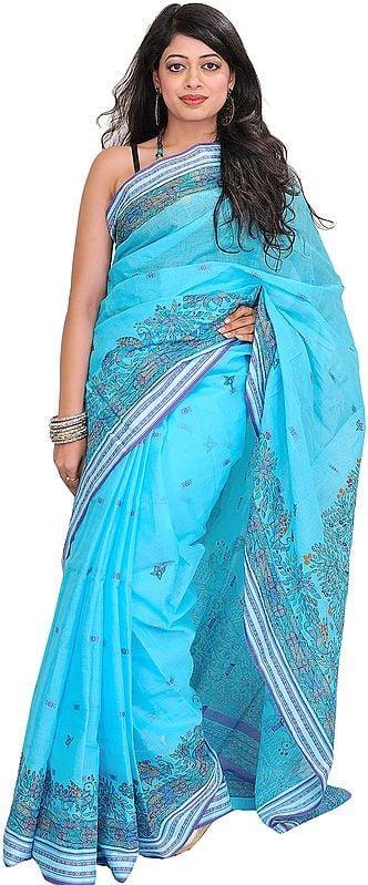 Light-Blue Madhubani Hand-Painted Sari from Bihar with Woven Border