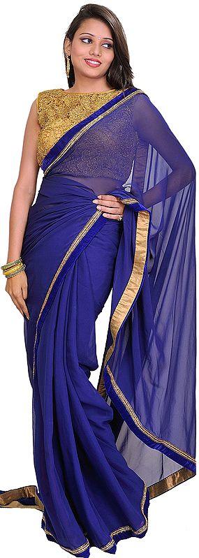 Blue and Golden Wedding Plain Sari with Designer Crochet Blouse