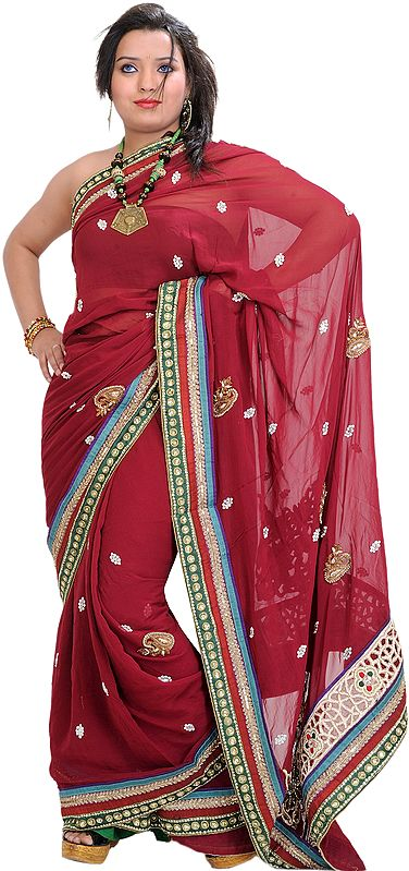 Beet-Red Wedding Sari with Zardozi Patches and Stone-work