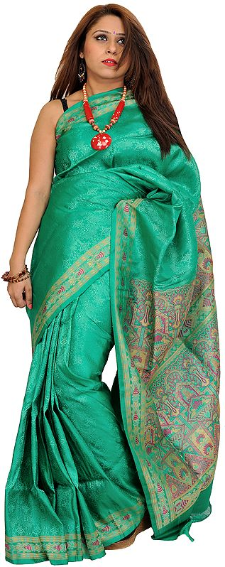 Simply-Green Self Weave Silk Sari from Banaras with Woven Motifs on Aanchal