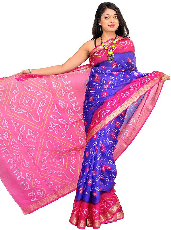 Blue and Pink Bandhani Tie-Dye Sari from Jodhpur with Brocade Border