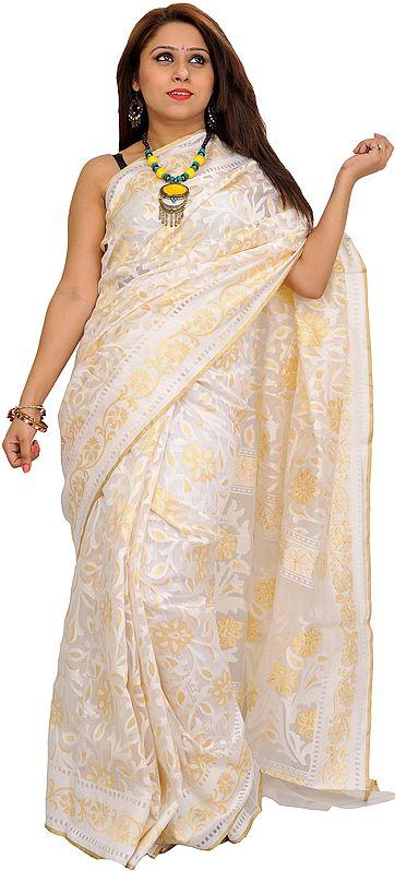 Ivory Self-Weave Net Sari from Banaras with Zari-Woven Flowers