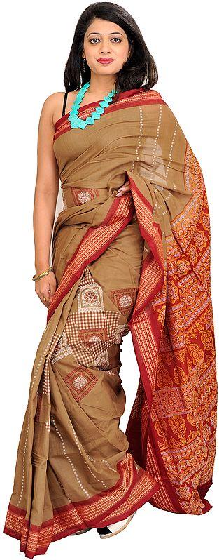 Silver-Mink and Maroon Bomkai Sari from Orissa with Woven Motifs and Rudraksha Border
