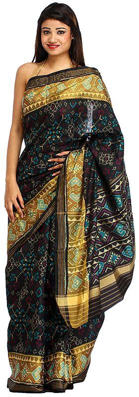 Jet-Black Handloom Paan-Patola Sari from Patan with Ikat Weave